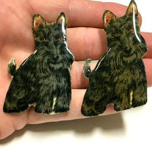 2 Vintage Schnauzer dog Large Brooch Pin Set
